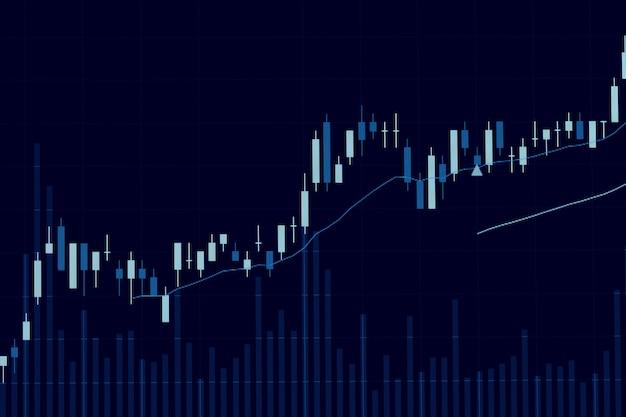 Анализ графика свечи фондового рынка на экране.