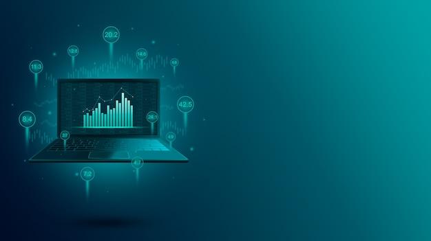 Финансовая диаграмма фондового рынка и онлайн-торговля через ноутбук
