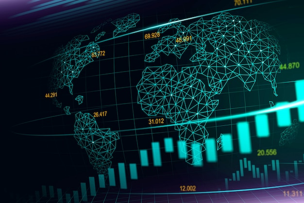Stock market or forex trading graph in futuristic concept