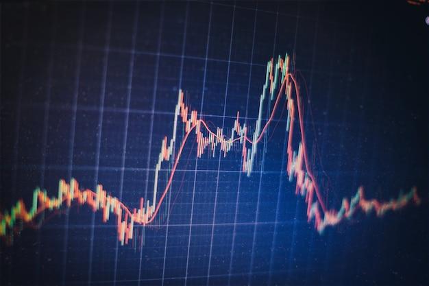 Led에 대한 주식 시장 그래프 및 비즈니스 재무 데이터. 비즈니스 그래프 및 주식 재무 지표입니다. 주식 또는 비즈니스 시장 분석 개념입니다.