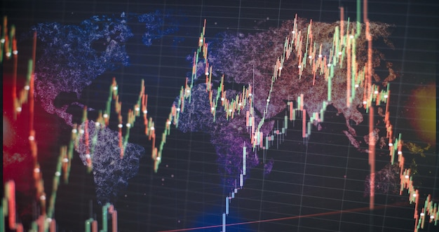 Stock market graph chart. the digital information for forex trading market. abstract glowing forex chart interface wallpaper. investment, trade, stock, finance and analysis concept.