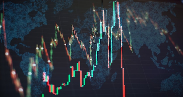 株式市場のグラフチャート。外国為替取引市場のデジタル情報。抽象的な輝く外国為替チャートインターフェイスの壁紙。投資、貿易、株式、金融、分析の概念。