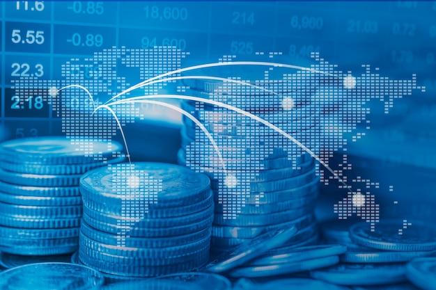 株式市場投資取引金融コインとグラフ
