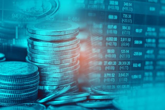 株式市場の投資取引金融、コイン、米国アメリカの旗または外国為替は、利益金融ビジネストレンドデータの背景を分析します。