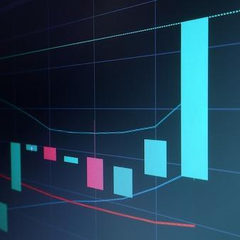 Анализ графика свечи японии фондового рынка на экране компьютера