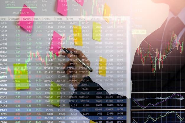 График фондового рынка или форекс и свечной график, подходящий для концепции финансовых инвестиций. фон тенденций экономики для бизнес-идеи и дизайна всех произведений искусства. абстрактный фон финансов.