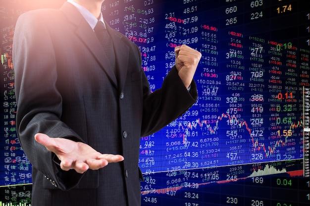 金融投資の概念に適した株式市場または外国為替取引グラフとローソク足チャート。ビジネスアイデアとすべてのアートワークデザインの経済動向の背景。抽象的な財務の背景。