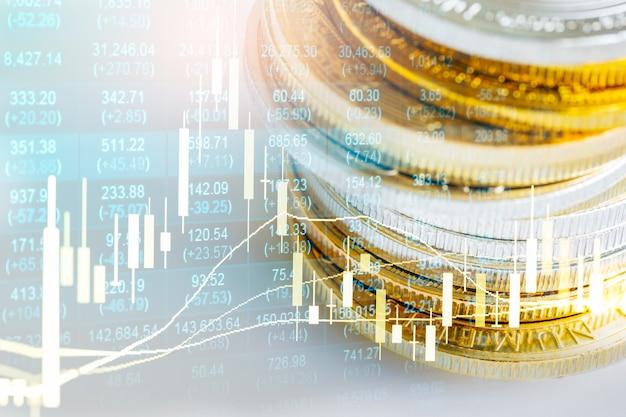 График фондового рынка или форекс и график свечей, подходящий для концепции финансовых инвестиций