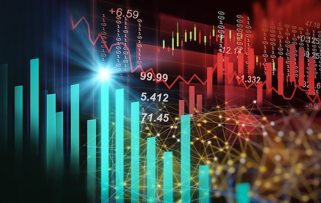 金融投資の概念に適した株式市場または外国為替取引グラフとローソク足チャート