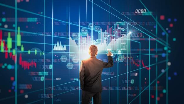 금융 투자 개념에 적합한 주식 시장 또는 외환 거래 그래프 및 촛대 차트