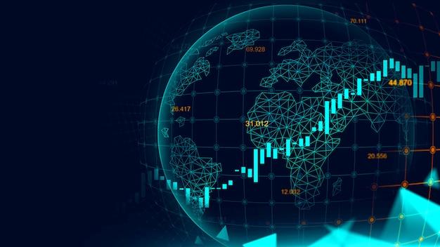 Фондовый рынок или форекс график в футуристическом