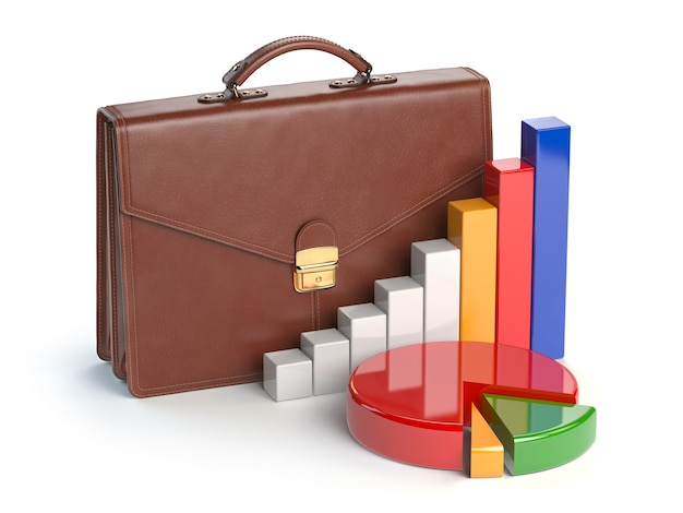 Концепция портфеля фондового рынка. портфель и диаграмма, изолированные на белом фоне. 3d иллюстрация