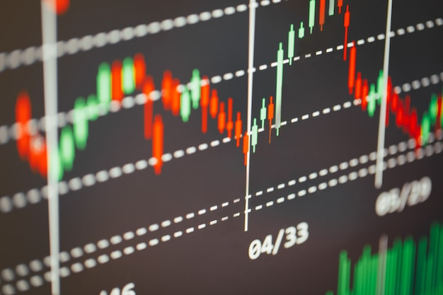 Stock market showing cryptocurrency growth graph on screen