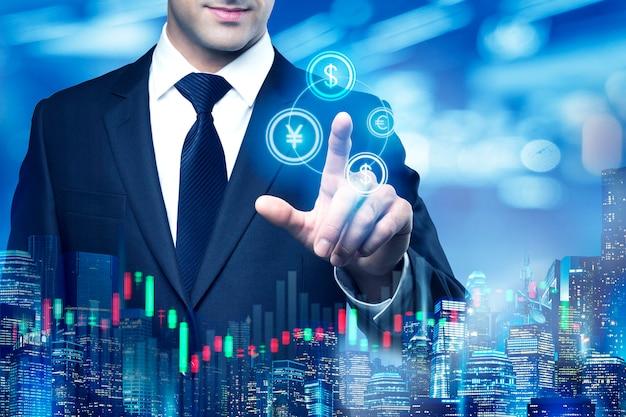 Концепция торговли на фондовом рынке 3d визуализации