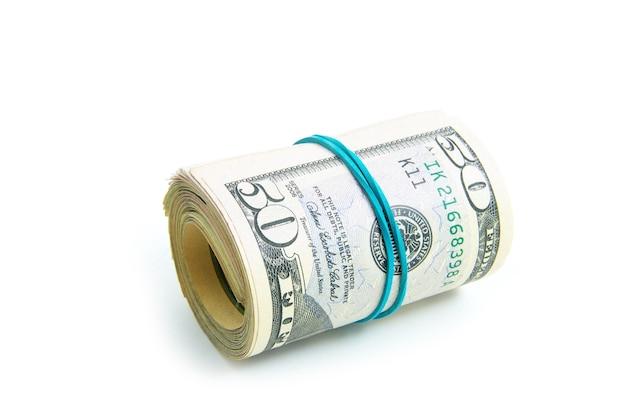 흰색 배경에 고립 된 돈의 주식