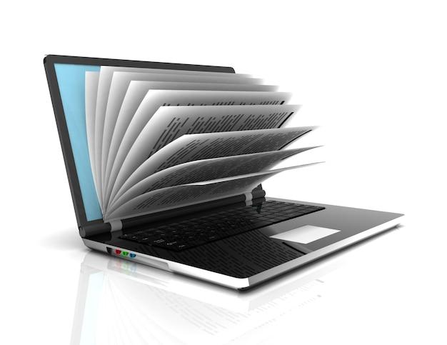 Фото экран ноутбука в виде блокнота или книги на белом фоне.