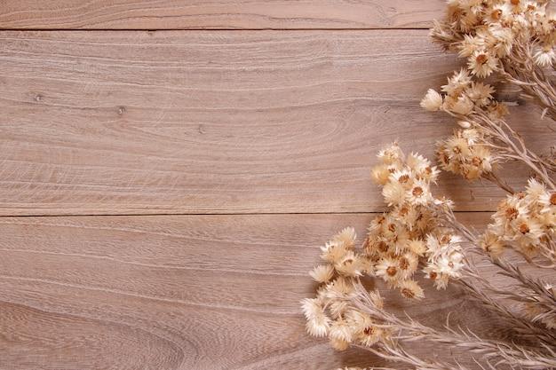 Стоковая фотография шаблон плоской планировки деревянная доска стол милая маргаритка сушеный цветок