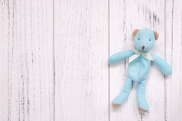 Stock photography retro white vintage painted wood floor background blue bear
