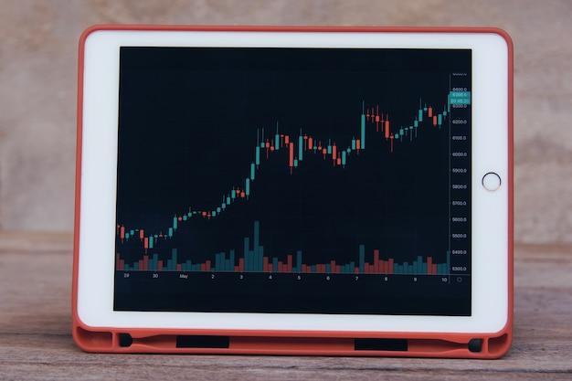 木製のテーブルにタブレットで株式取引外国為替