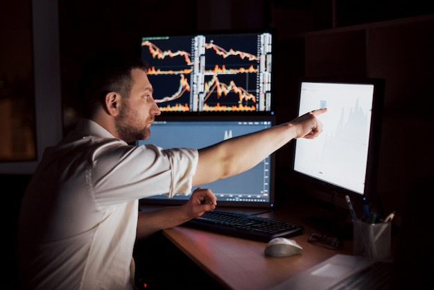 Stockbroker in shirt is working in a monitoring room with display screens. stock exchange trading forex finance graphic . businessmen trading stocks online