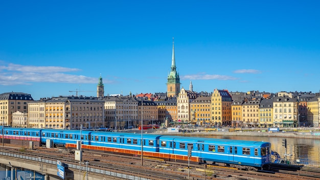 Stockholm cityscape with a train in stockholm city, sweden