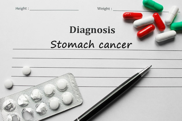 Stomach cancer on the diagnosis list, medical concept