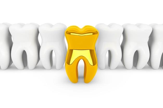 口腔病学の概念。白い背景の上の極端なクローズアップの金の歯