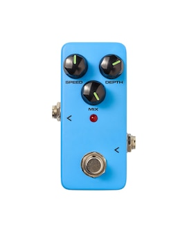 Stomp box electric guitar signal chorus effects foot pedal isolated on white