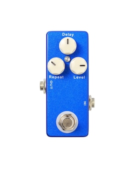 Stomp box electric guitar signal delay effects foot pedal isolated on white