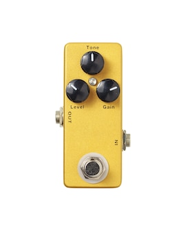 Stomp box electric guitar signal distortion gold effects foot pedal isolated on white