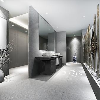 돌과 현대 타일 공중 화장실