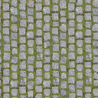 Stone block with grass. seamless background.
