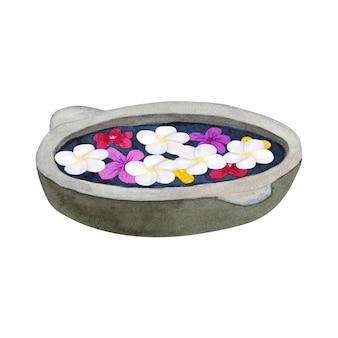 花で沐浴するための石のボウル。フランジパニまたはプルメリアのスパ用ボウル。手描きの水彩イラスト。孤立。