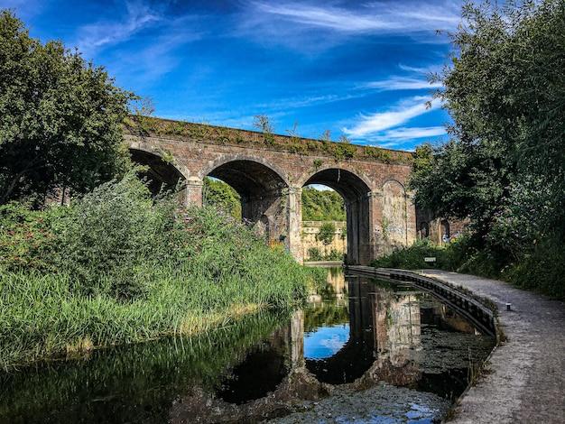 Stone bridge on top of a river