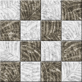 열 대 잎 텍스처와 돌 장식 타일입니다. 인테리어 디자인 요소. 배경 질감