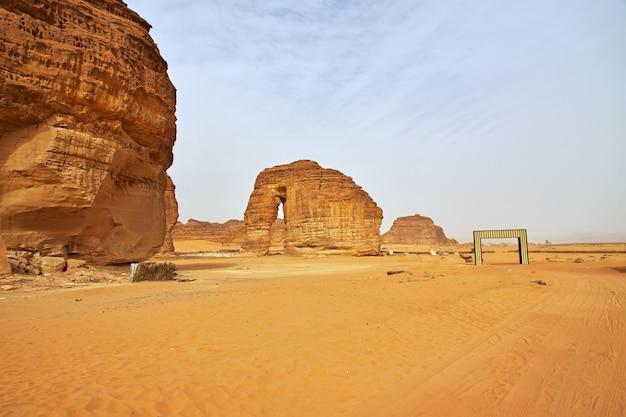 Stone elephant in the desert close al ula, saudi arabia