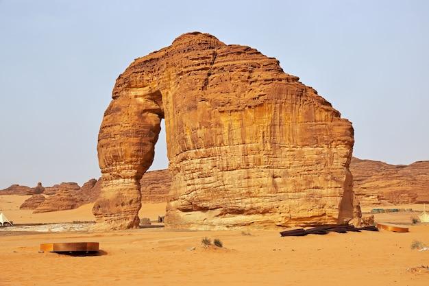 サウジアラビアのアルウラ近くの砂漠にいる石の象