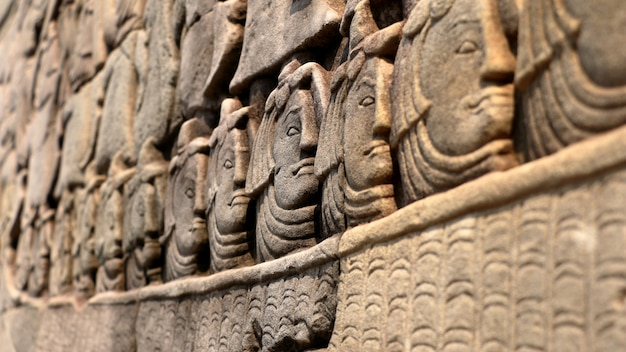 Stone faces on angkow wat