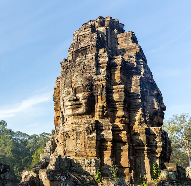 Stone head on towers of bayon temple