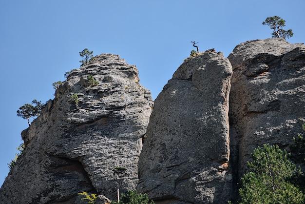 青い空を背景に緑の木々や茂みのある石の丘や山々。