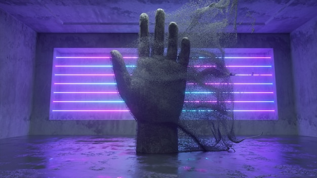 A stone human hand emitting millions of particle streams in a future sci-fi room with modern neon lighting. abstract 3d illustration