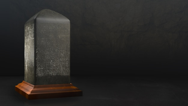 Stone inscription template mockup copy space template dark background thai