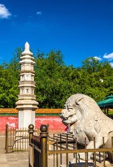 Каменный лев и пагода в храме четырех великих регионов - летний дворец, пекин, китай