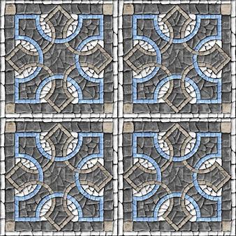 石のモザイク。天然石の質感の床タイル..背景の質感