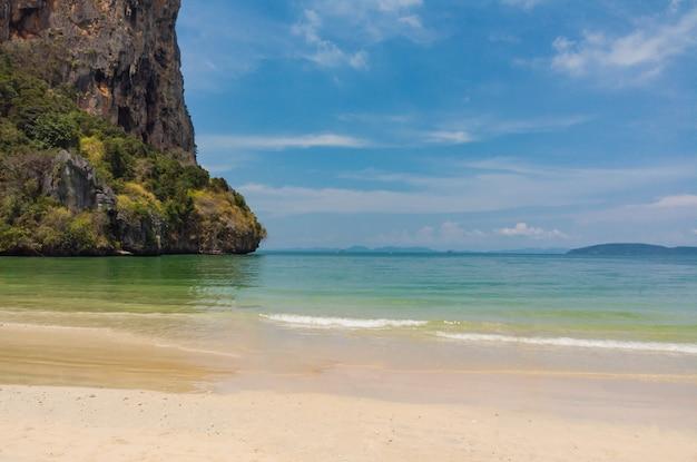 Stone mountain located the beautiful beach sand ao nang, krabi, thailand