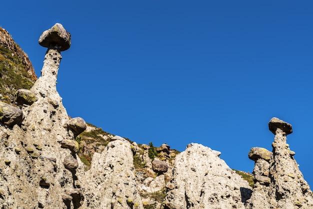돌 버섯 바람 암석의 침식 러시아 알타이 chulyshman 계곡 akkurum 지역