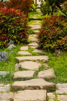 A stone path winds into a garden, a backyard or park design, a landscape design of a private plot, a country house.