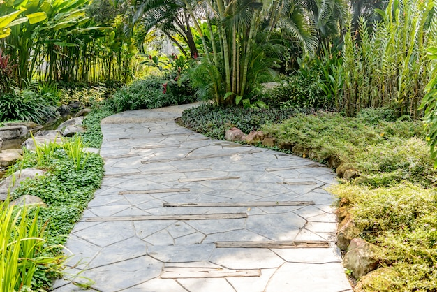 Stone pathway into garden