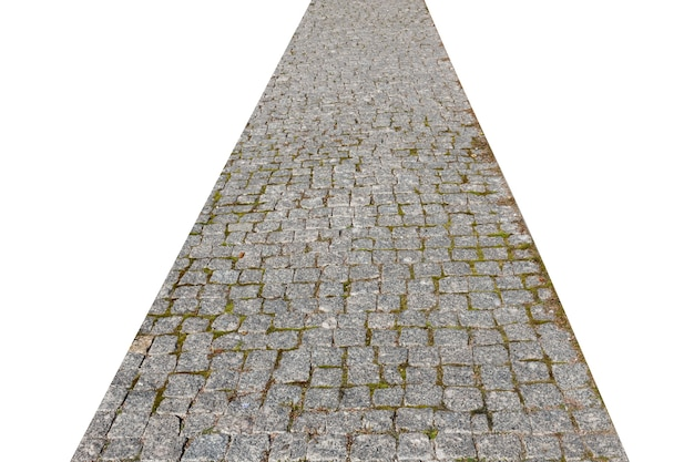 Stone pavement road isolated on white background. high quality photo