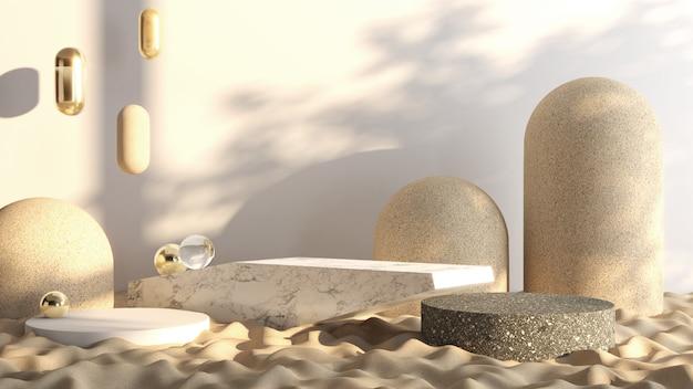 Stone pedestal around the sand, mock up platform for product presentation, 3d rendering